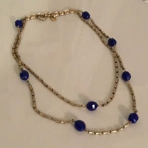 J. Crew Long Blue and Gold-Toned Neclklace